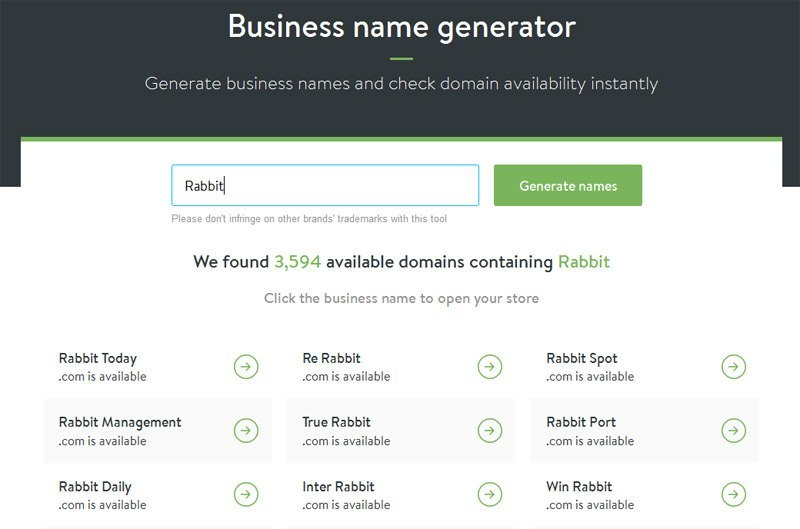 Business name generator - Shopify